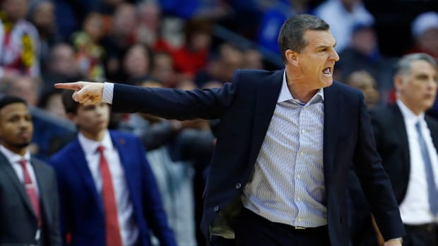 Maryland Terrapins head coach Mark Turgeon reacts during the second half against the Seton Hall Pirates at Prudential Center.