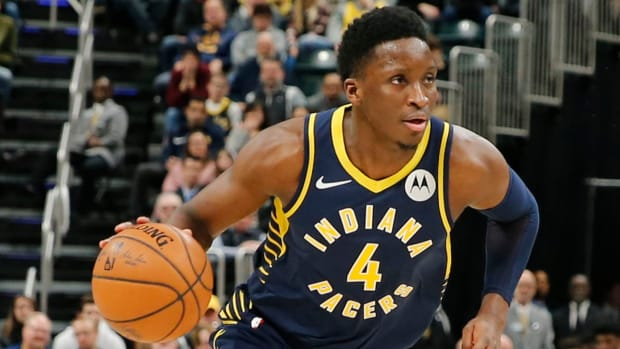 Victor Oladipo plays against the Charlotte Hornets in January 2019.