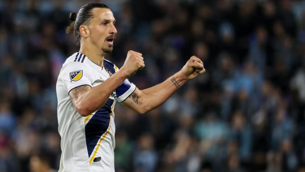Zlatan Ibrahimovic celebrates in one of his final appearances for the LA Galaxy.