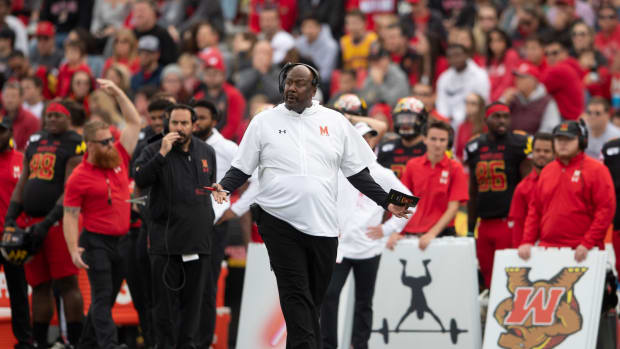 Maryland Terrapins head coach Michael Locksley reacts to a call during the first quarter against the Indiana Hoosiers at Capital One Field at Maryland Stadium.