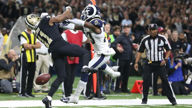 Nickell Robey-Coleman interferes with Tommylee Lewis in NFC Championship Game