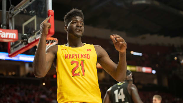 Maryland Terrapins forward Makhi Mitchell (21) reacts during the second half against the Oakland Golden Grizzlies at XFINITY Center.