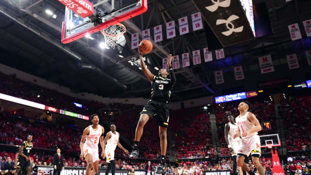 Bryant Bulldogs guard Michael Green III (3) moves to the basket in the first half against the Maryland Terrapins at XFINITY Center.