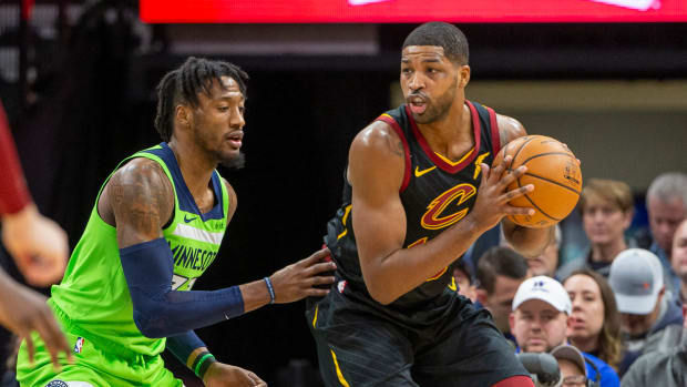Cavaliers center Tristan Thompson looks to make a move against the Timberwolves.