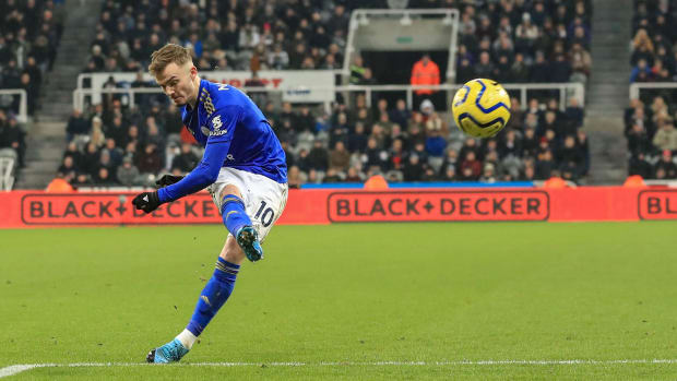 James Maddison scores for Leicester vs. Newcastle