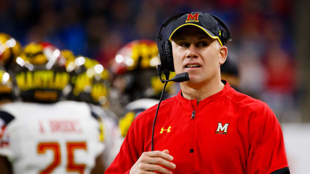 Maryland Terrapins head coach D. J. Durkin on the sideline prior to the game against the Boston College Eagles at Ford Field.