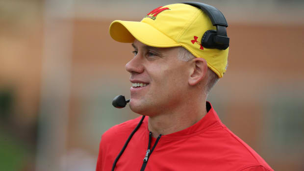 Maryland Terrapins head coach DJ Durkin on the sidelines during the game against the Indiana Hoosiers.
