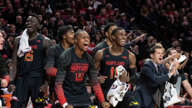 Maryland Terrapins bench reacts during the first half against the Indiana Hoosiers at XFINITY Center.