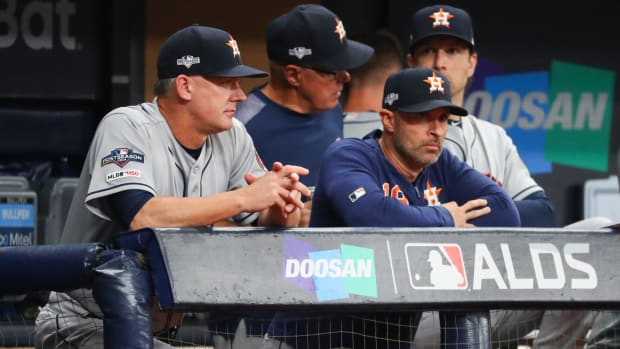 Houston Astros manager AJ Hinch (looks on during the first inning in game four of the 2019 ALDS playoff baseball series against the Tampa Bay Rays at Tropicana Field.
