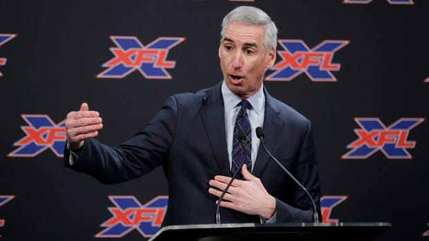 XFL commissioner Oliver Luck at a press conference
