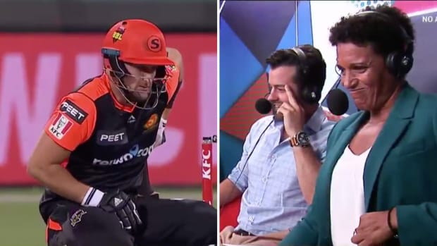Big Bash League cricket player Liam Livingstone hits himself in the crotch.