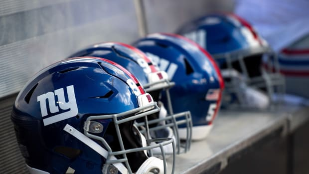 Sep 22, 2019; Tampa, FL, USA; General view of New York Giants helmets on the bench prior to the game against the Tampa Bay Buccaneers at Raymond James Stadium.
