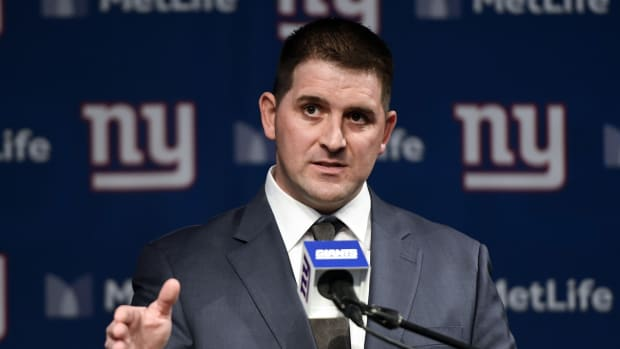 Jan 9, 2020; East Rutherford, New Jersey, USA; Introductory press conference of New York Giants new head coach Joe Judge at MetLife Stadium. Mandatory Credit: Danielle Parhizkaran-USA TODAY Sports