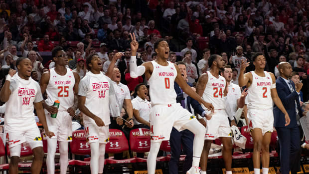 Maryland Terrapins bench reacts during the second half of the game against the Ohio State Buckeyes at XFINITY Center.