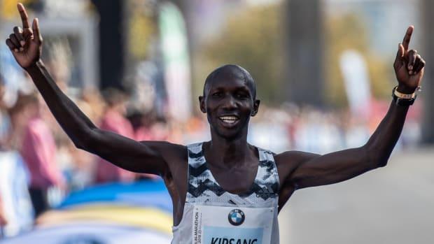 Former world record holder Wilson Kipsang finishes the Berlin Marathon.