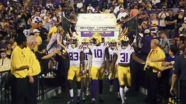 Screenshot from LSU hype video ahead of national championship vs Clemson, narrated by Dwayne Johnson