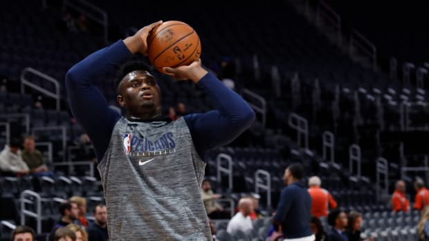 New Orleans Pelicans forward Zion Williamson during warm ups prior to the game against the Detroit Pistons at Little Caesars Arena.