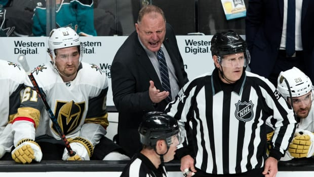 NHL head coach Gerard Gallant on the bench with the Vegas Golden Knights