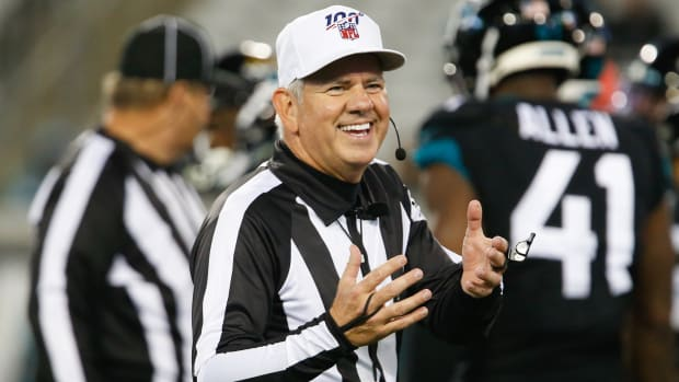 NFL referee Bill Vinovich asks for the ball during the second half between the Jacksonville Jaguars and the Los Angeles Chargers.