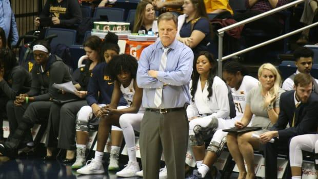 West Virginia head coach Mike Carey