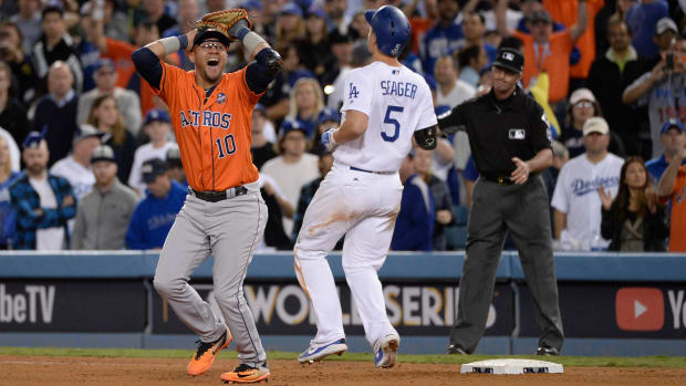Astros first baseman Yuli Gurriel reacts after the final out of 2018 World Series vs Dodgers
