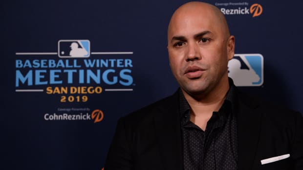 New York Mets manager Carlos Beltran speaks to the media during the MLB Winter Meetings at Manchester Grand Hyatt.