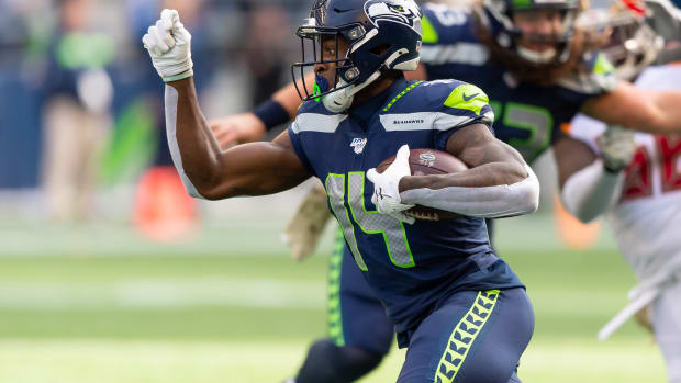 Seattle Seahawks wide receiver D.K. Metcalf (14) during the first half at CenturyLink Field. Seattle defeated Tampa Bay 40-34.