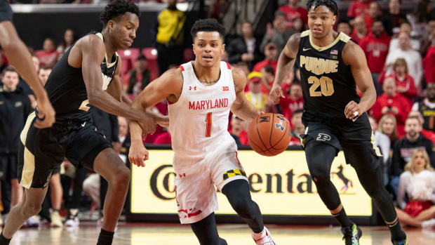 Maryland Terrapins guard Anthony Cowan Jr. (1) dribbles as Purdue Boilermakers guard Eric Hunter Jr. (2) defends during the second half at XFINITY Center.