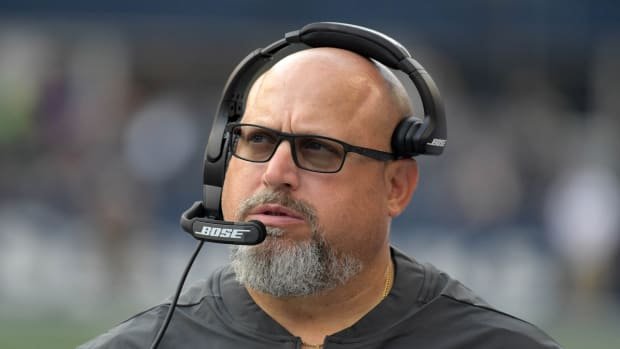 Aug 9, 2018; Seattle, WA, USA; Indianapolis Colts defensive line coach Dave DeGuglielmo reacts during a preseason game against the Seattle Seahawks at CenturyLink Field. The Colts defeated the Seahawks 19-17.