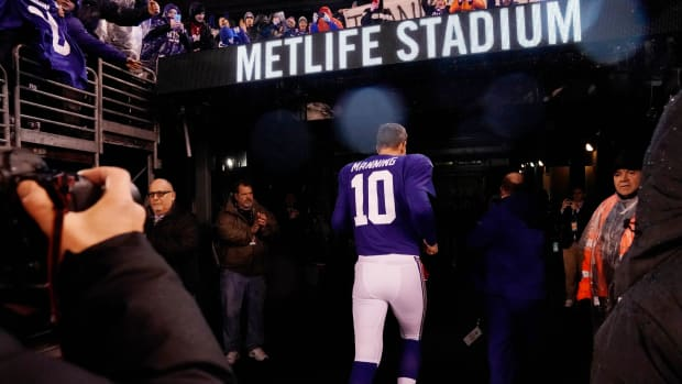 Dec 29, 2019; East Rutherford, New Jersey, USA; New York Giants quarterback Eli Manning (10) leaves the field after the game against the Philadelphia Eagles at MetLife Stadium.