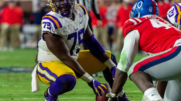 Louisiana State Tigers offensive lineman Lloyd Cushenberry III (79) sets up against the Mississippi Rebels in the first half at Vaught-Hemingway Stadium.