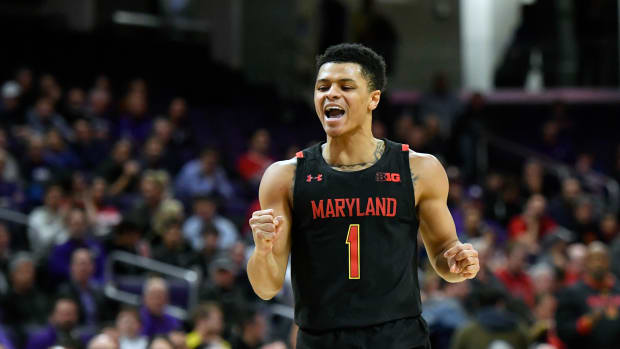 Maryland Terrapins guard Anthony Cowan Jr. (1) reacts in the first half against the Northwestern Wildcats at Welsh-Ryan Arena.