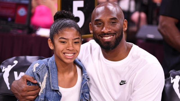 Kobe Bryant is pictured with his daughter Gianna at the WNBA All Star Game