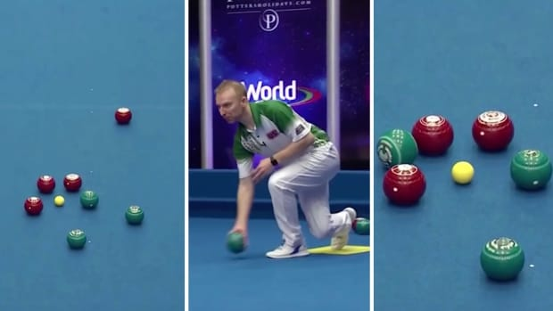 Split image of Nick Brett's shot at 2020 indoor bowls world championship