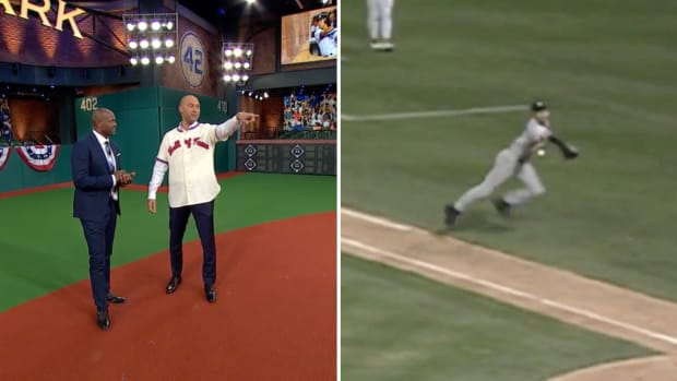 Split image of Derek Jeter's famous flip play and his analysis with MLB Network's Harold Reynolds