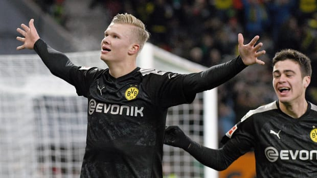Erling Haaland impressed with a debut hat trick off the bench for Dortmund