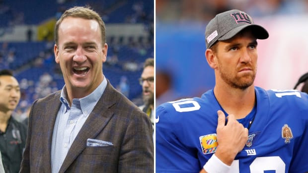 Split image of former NFL quarterback Peyton Manning and Giants QB Eli Manning