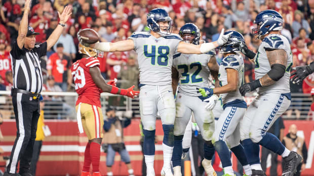 Seattle Seahawks tight end Jacob Hollister (48) scores a touchdown against the San Francisco 49ers during the third quarter at Levi's Stadium.