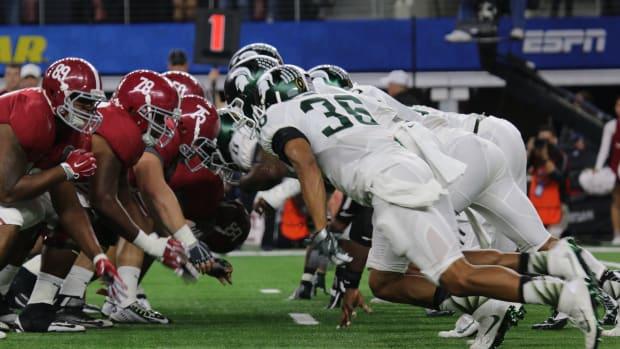 2015 Cotton Bowl defensive line of scrimmage MSU vs BAMA Photo courtesy of Tom Ackerson.