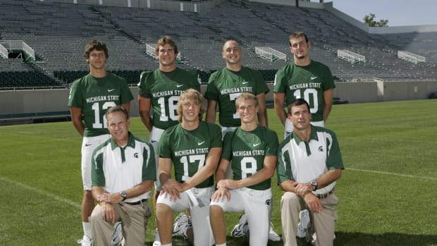 Before they competed in the Super Bowl, Nick Foles and Brian Hoyer were at MSU together.  (PHOTO:  MSU SID)