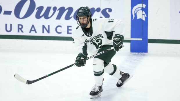 Michigan State sophomore defenseman Tommy Miller  (PHOTO:  MSU SID)