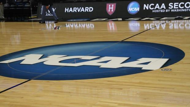 NCAA logo on the court Spokane 14