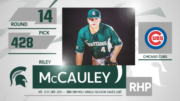 Riley McCauley Selected In 14th Round Of MLB Draft (PHOTO:  MSU SID)