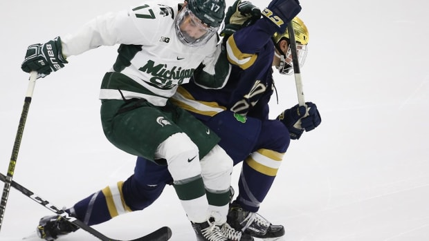 MSU HOCKEY VS NOTRE DAME (PHOTO;  MSU SID)