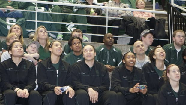 The Spartans awaited their see and placement last night at the Breslin.  Photo courtesy of Geordon Portice.