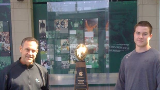 Mark Dantonio and super stud 2013 OT Kyle Bosch spent two hours talking character, school and football on a recent visit to East Lansing.  Photo courtesy of Bosch.