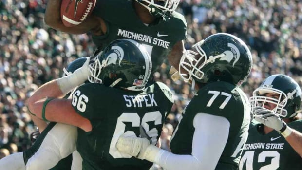 The Spartans remain atop the Big Ten as week twelve approaches.  Photo courtesy of Bill Marklevits.