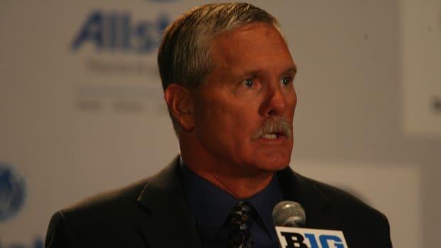 Purdue head coach Danny Hope at the Big Ten media days.  Photo courtesy of Bill Marklevits.