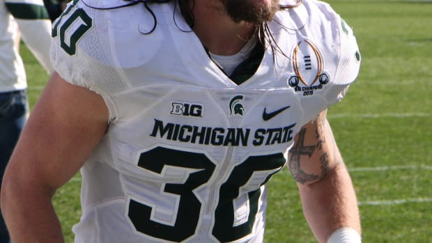 MLB Riley Bullough is the unquestioned leader of the 2016 Spartans.  Photo courtesy of Mark Boomgaard.