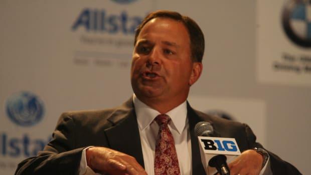 Indiana head coach Kevin Wilson at the Big Ten media days. Photo courtesy of Bill Marklevits.